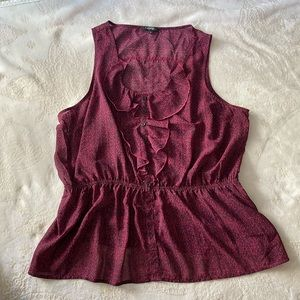 Sleeveless Breezy Blouse Purple & Black Size 2X